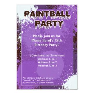 Purple Paintball Party Invite