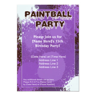 Purple Paintball Party Invite