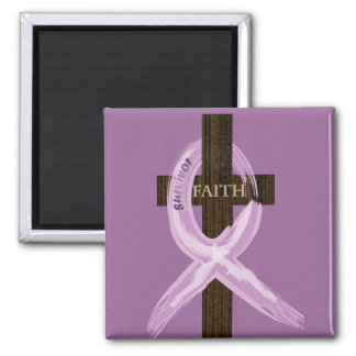"Purple ""Painted"" Cancer Ribbon on Cross 2 Inch Square Magnet"