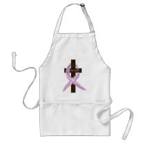 """Purple """"Painted"""" Cancer Ribbon on Cross Adult Apron"""