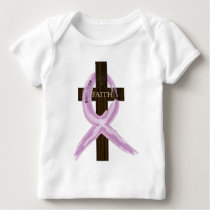 "Purple ""Painted"" Cancer Ribbon on Cross Baby T-Shirt"