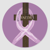 "Purple ""Painted"" Cancer Ribbon on Cross Classic Round Sticker"