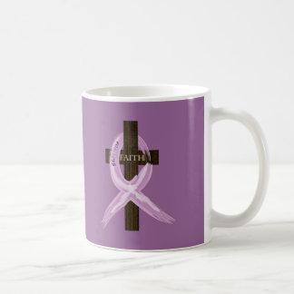 "Purple ""Painted"" Cancer Ribbon on Cross Coffee Mug"
