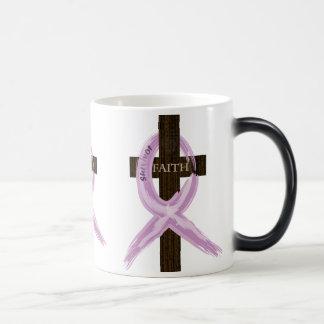"Purple ""Painted"" Cancer Ribbon on Cross Magic Mug"