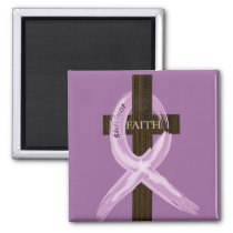 "Purple ""Painted"" Cancer Ribbon on Cross Magnet"
