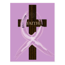 "Purple ""Painted"" Cancer Ribbon on Cross Postcard"