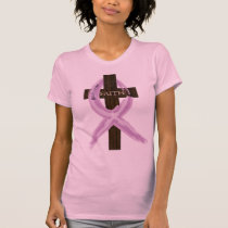 "Purple ""Painted"" Cancer Ribbon on Cross T-Shirt"
