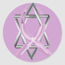 "Purple ""Painted"" General Cancer Ribbon Classic Round Sticker"