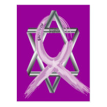 "Purple ""Painted"" General Cancer Ribbon Postcard"