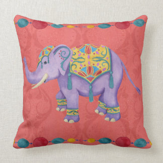 Purple Painted Indian Elephant Throw Pillow