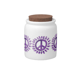 purple painted peace sign Candy Jar