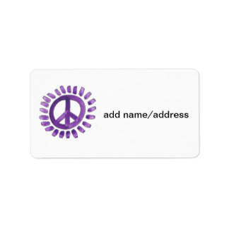 purple painted peace sign labels