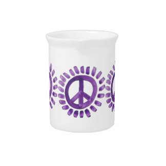 purple painted peace signs Pitcher