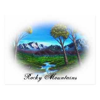 Purple Painting Rocky Mountain Stream Landscape Postcard