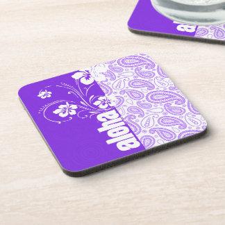 Purple Paisley; Aloha, Hibiscus Drink Coaster