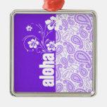 Purple Paisley; Aloha, Hibiscus Metal Ornament