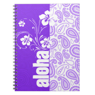 Purple Paisley; Aloha, Hibiscus Spiral Notebook
