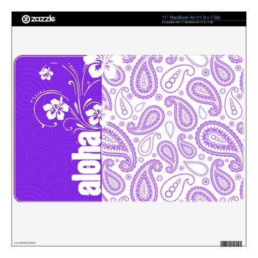 Purple Paisley; Aloha, Hibiscus MacBook Air Skins