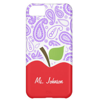 Purple Paisley; Apple for Teacher Case For iPhone 5C