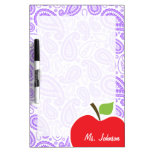 Purple Paisley; Apple for Teacher Dry Erase Whiteboards