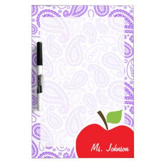 Purple Paisley; Apple for Teacher Dry Erase Board