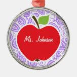 Purple Paisley; Apple for Teacher Metal Ornament