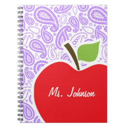 Purple Paisley; Apple for Teacher Notebook