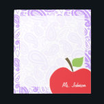 """Purple Paisley; Apple for Teacher Notepad<br><div class=""""desc"""">You will love this cute, red apple, teacher themed Purple Paisley pattern design! This red apple design is a great gift for the world&#39;s best teacher or professor! Visit our store, Monogram Baby, to view this cool, trendy pattern on many more customizable products, including modern teacher baby shower invitation postcards...</div>"""