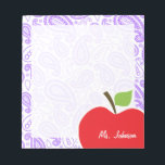 "Purple Paisley; Apple for Teacher Notepad<br><div class=""desc"">You will love this cute, red apple, teacher themed Purple Paisley pattern design! This red apple design is a great gift for the world&#39;s best teacher or professor! Visit our store, Monogram Baby, to view this cool, trendy pattern on many more customizable products, including modern teacher baby shower invitation postcards...</div>"