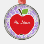 Purple Paisley; Apple for Teacher Round Metal Christmas Ornament