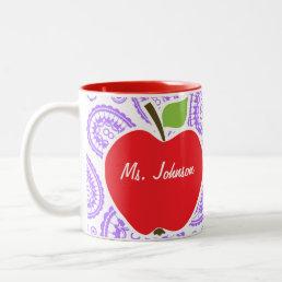 Purple Paisley; Apple for Teacher Two-Tone Coffee Mug