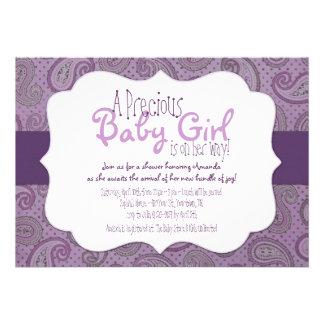 Purple Paisley Baby Girl Shower Invitation