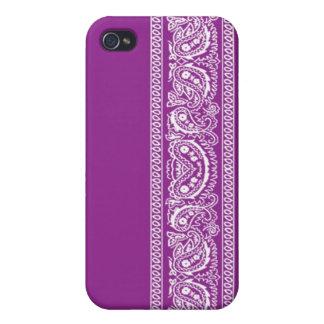 Purple Paisley Bandana iPhone 4 Case