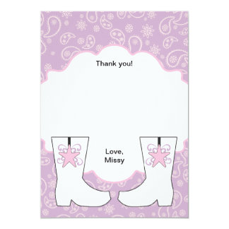 Purple Paisley Cowgirl Boots Thank You Notes Card