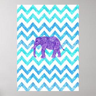 Purple Paisley Elephant Girly Teal Glitter Chevron Poster