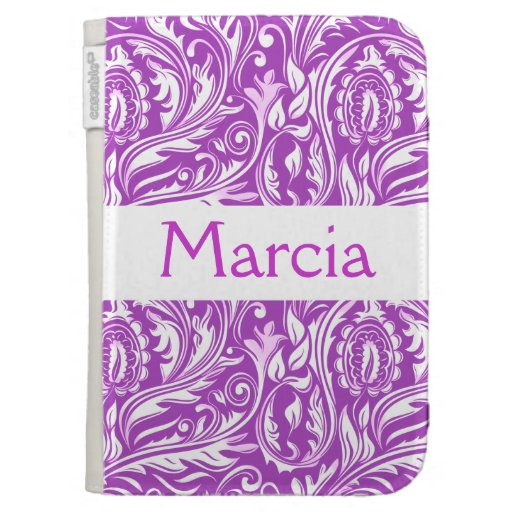 Purple Paisley Floral & White Monogram Case For The Kindle