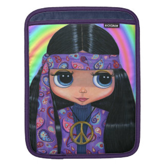 Purple Paisley Hippie Chick with Peace Sign Sleeve For iPads