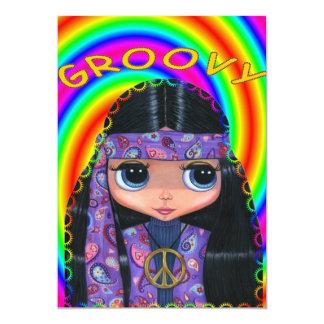 Purple Paisley Hippie Girl Invitation