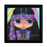 Purple Paisley Hippie Girl with Big Eyes Gift Boxes