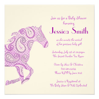 Purple Paisley Horse Baby Shower Announcements