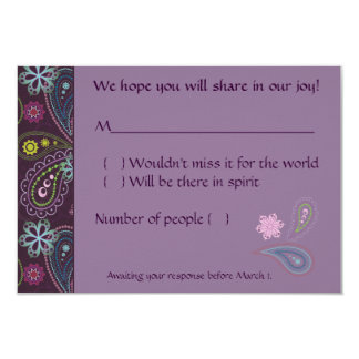 Purple Paisley 3.5x5 Paper Invitation Card