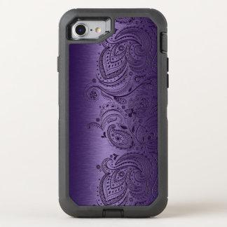 Purple Paisley Lace On Metallic Purple Texture OtterBox Defender iPhone 7 Case