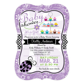 Purple Paisley Ladybug Theme Girl Baby Shower Card