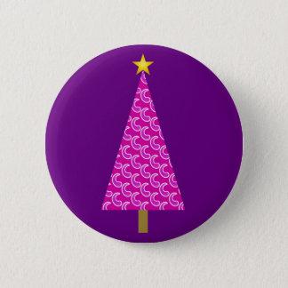 Purple paisley modern Christmas tree Pinback Button