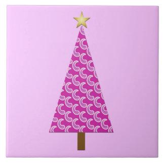 Purple paisley modern Christmas tree Tile
