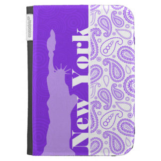 Purple Paisley; NYC, statue of liberty Kindle 3 Cases