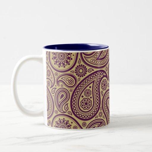 Purple Paisley on Gold Background Coffee Mugs