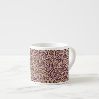 Purple Paisley on Gold Background - Espresso Mug 6 Oz Ceramic Espresso Cup
