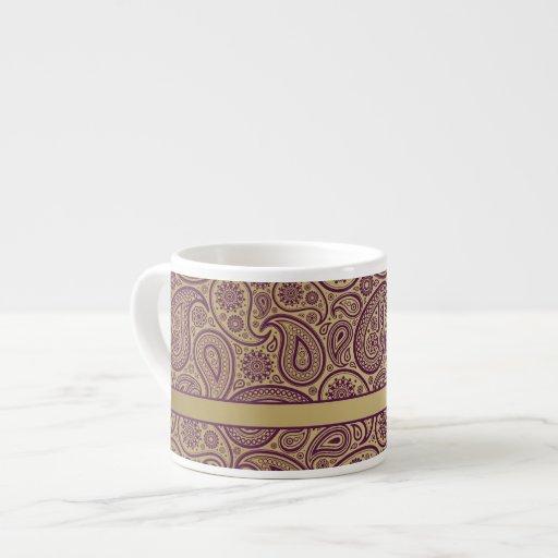 Purple Paisley on Gold Background & Gold Ribbon 2 Espresso Mugs