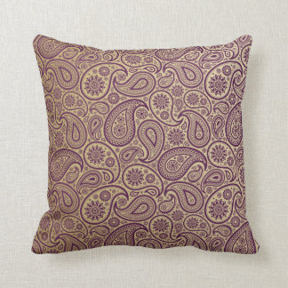 Purple Paisley on Gold Background Throw Pillows